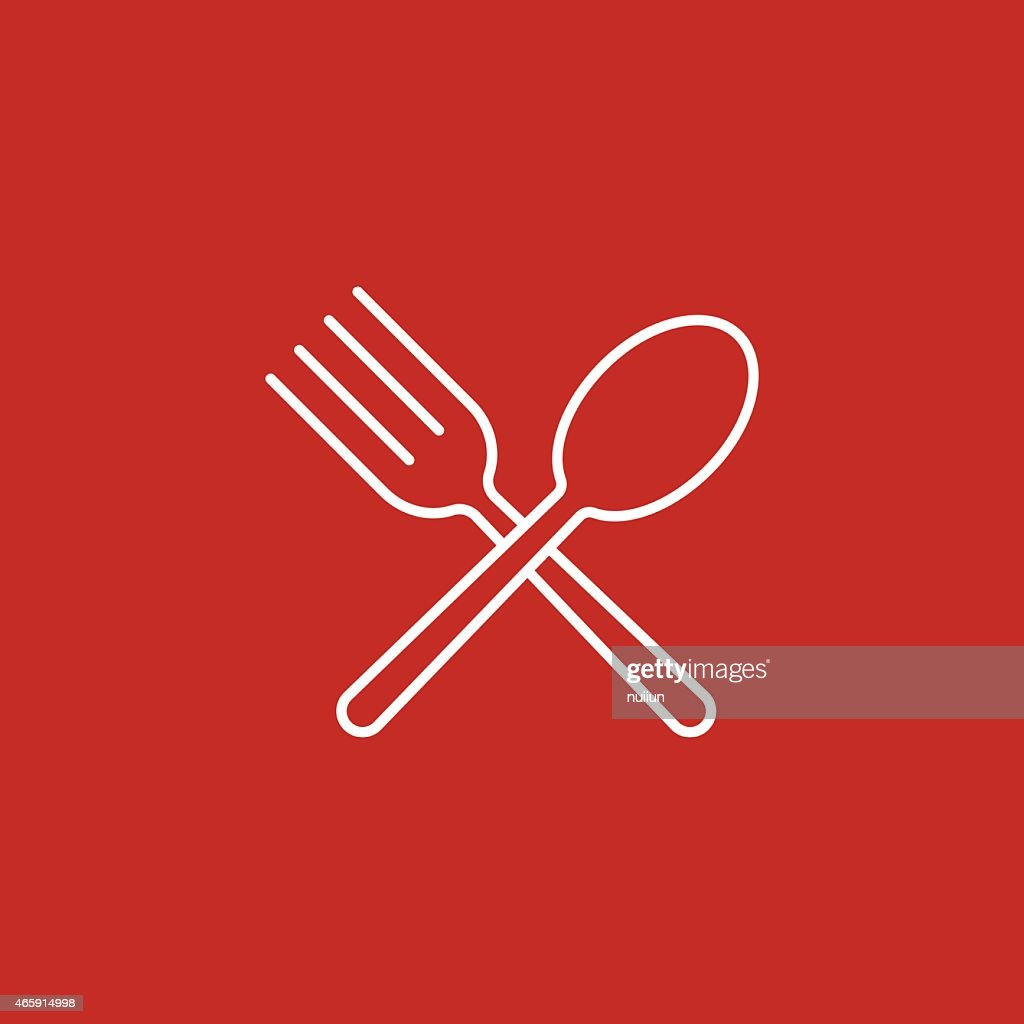 Spoon and fork icon on red background