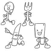 spoon, fork and knife cartoon