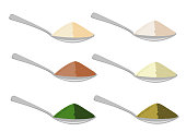 Spoons with differrent sources protein powder. Vector illustration.
