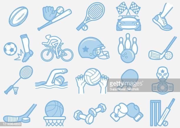 sport 02 line icons set clip art - badminton racket stock illustrations