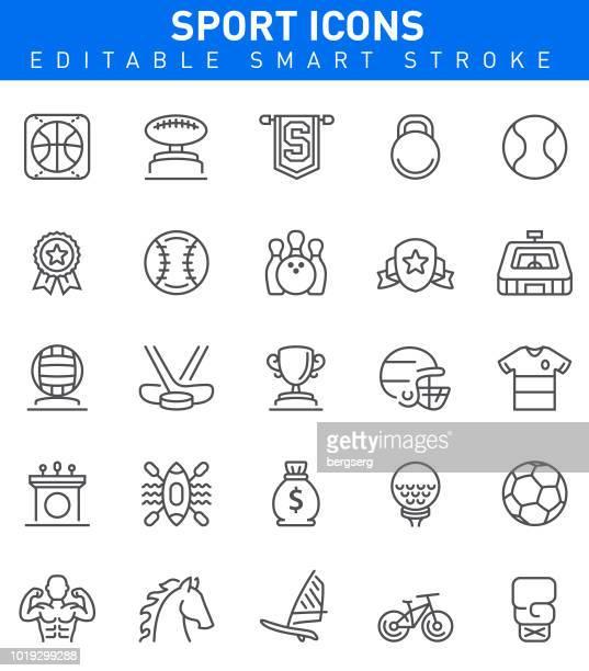 sport and achievement icons. editable stroke - soccer uniform stock illustrations