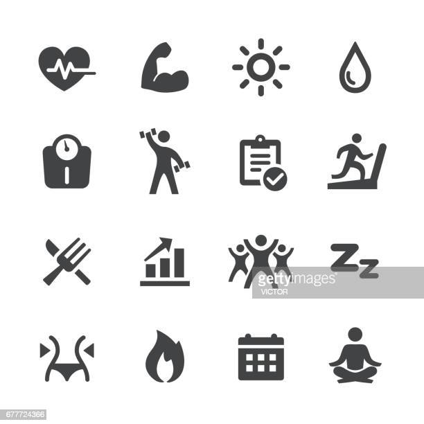 sport and activity icons - acme series - weight training stock illustrations