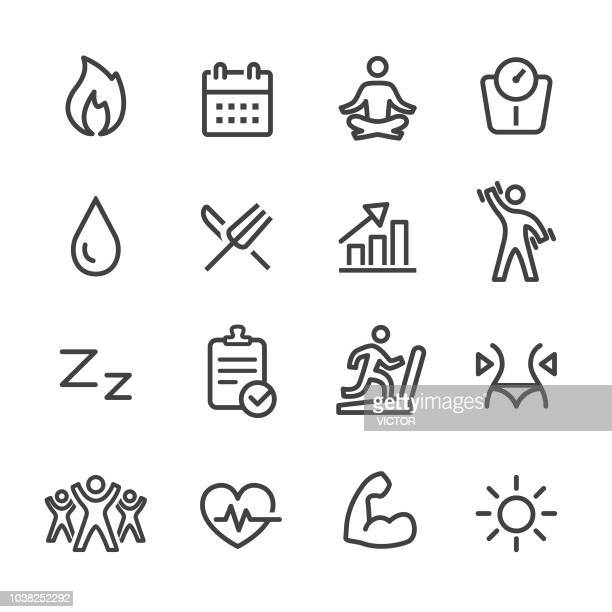 sport and activity icons - line series - weight training stock illustrations