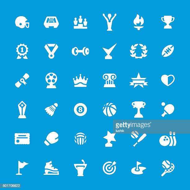 sport and award vector icon set - sport torch stock illustrations, clip art, cartoons, & icons