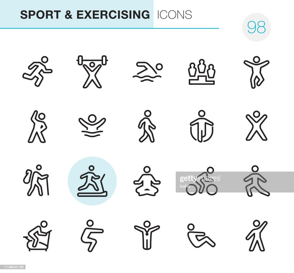 Sport and Exercising - Pixel Perfect icons : stock illustration