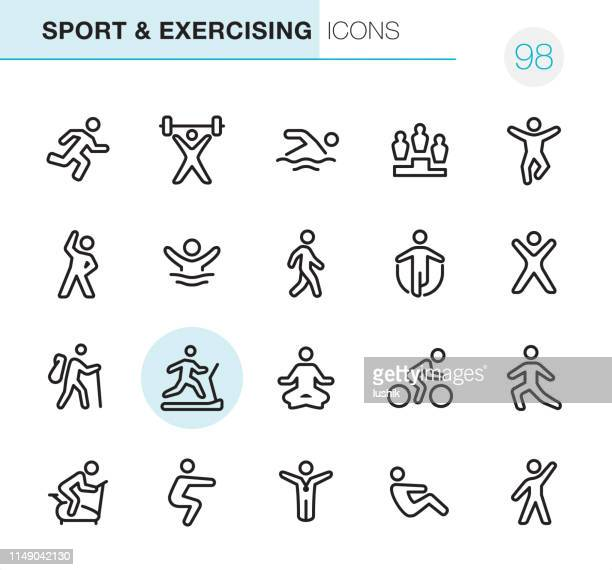 sport and exercising - pixel perfect icons - weight training stock illustrations
