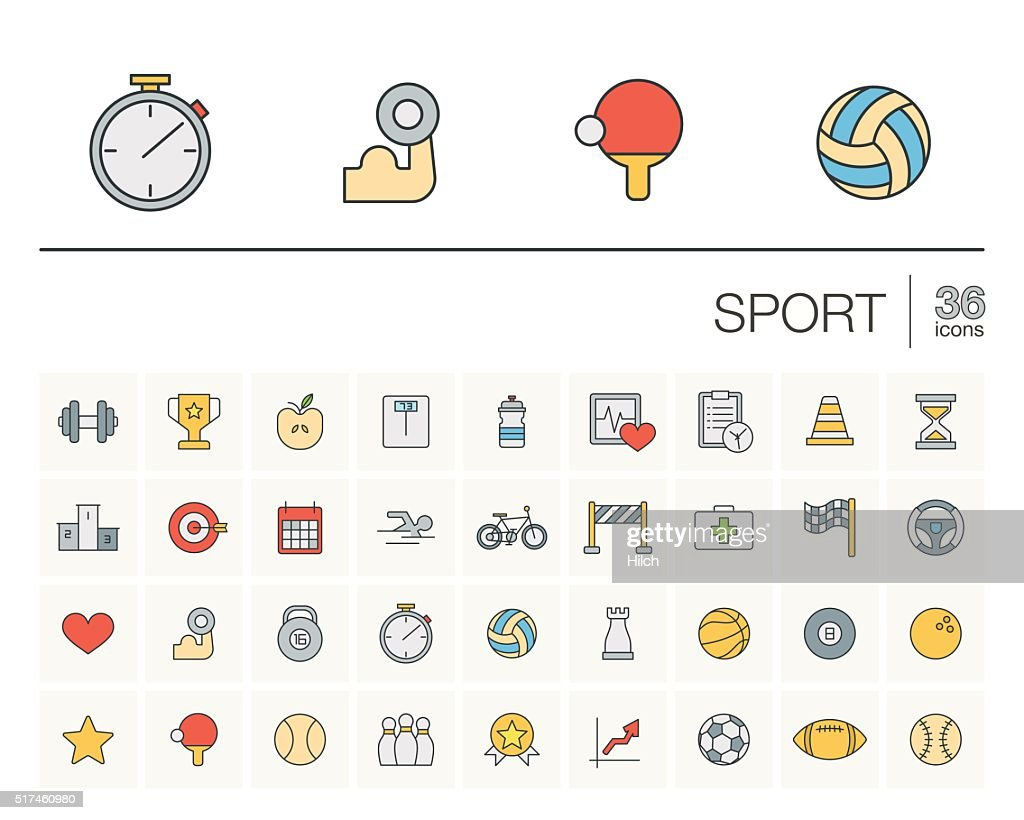 Sport and fitness color vector icons