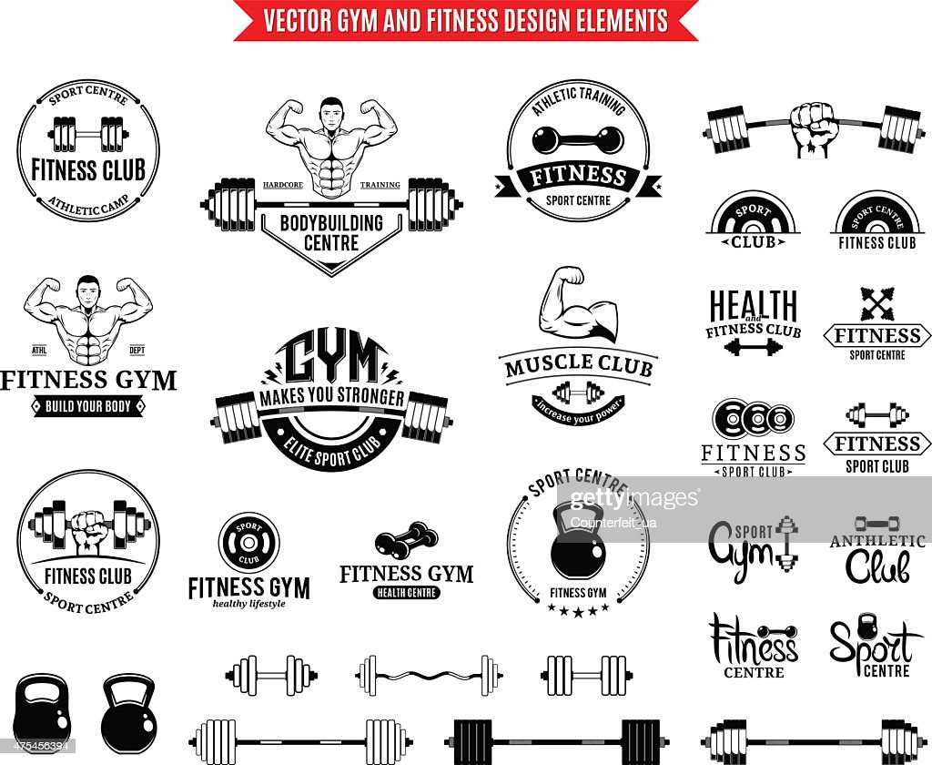 Sport and Fitness Gym Label Templates and Design Elements