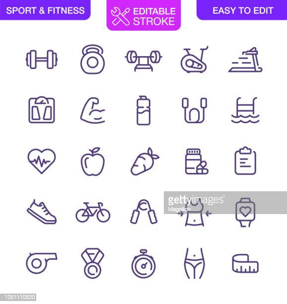 sport and fitness icons set editable stroke - weight training stock illustrations