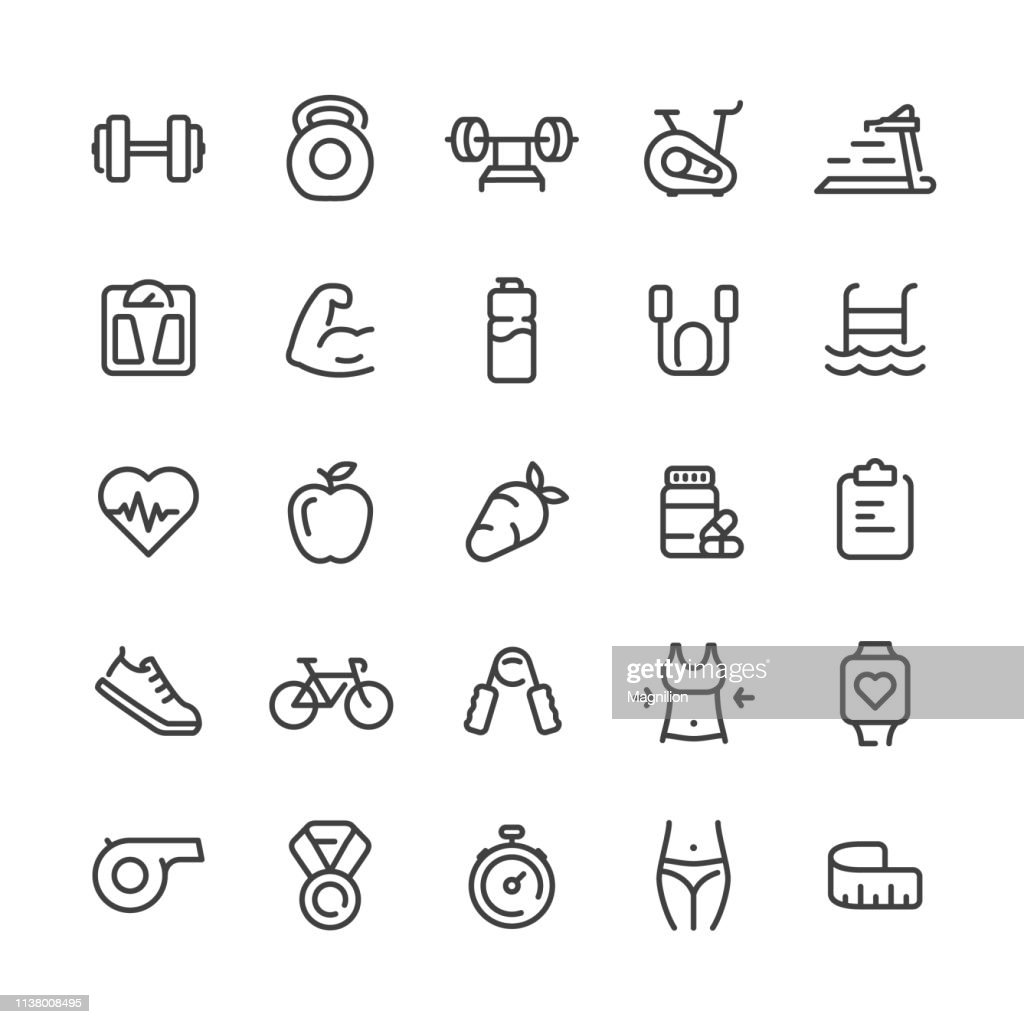 Sport and Fitness Icons Set : stock illustration