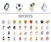 Sport and fitness isometric icons. 3d vector