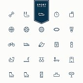 25 sport and fitness minimal line icons