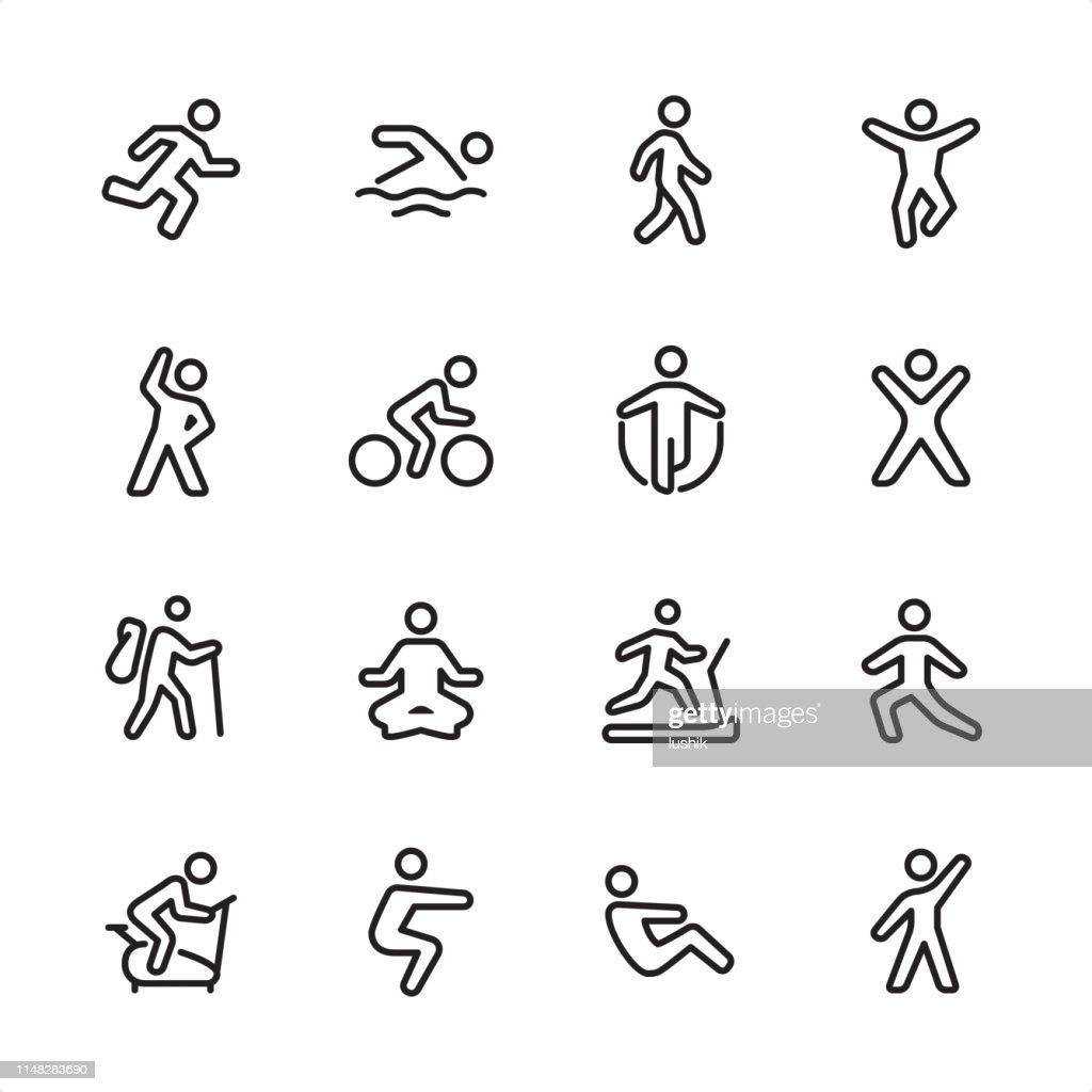 Sport et fitness-ensemble d'icônes de contour : Illustration