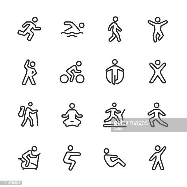 sport and fitness - outline icon set - the human body stock illustrations