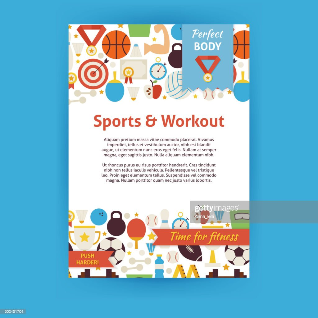 Sport and Workout Vector Invitation Template Flyer