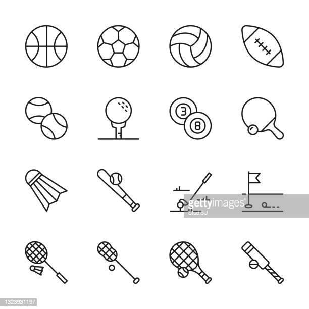 sport ball line icons - badminton racket stock illustrations