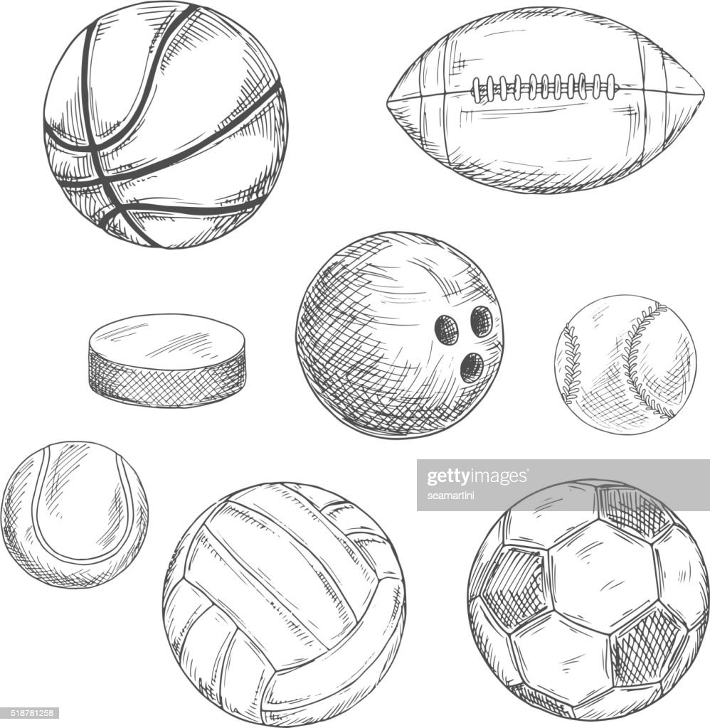 Sport balls and ice hockey puck sketches