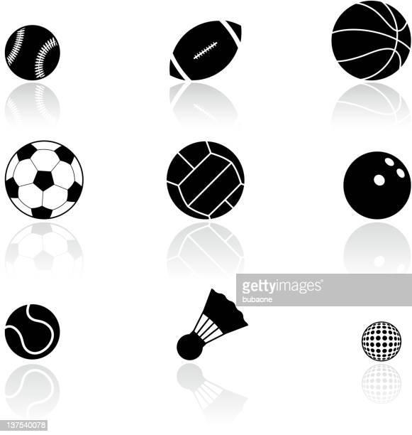 ilustraciones, imágenes clip art, dibujos animados e iconos de stock de pelotas de deportes blanco y negro sin royalties de conjunto de iconos vectoriales - vóleibol de playa