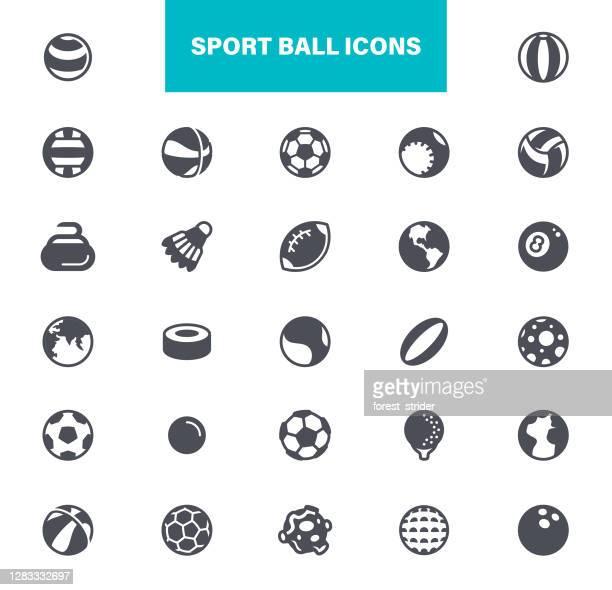 sport balls icons - badminton racket stock illustrations