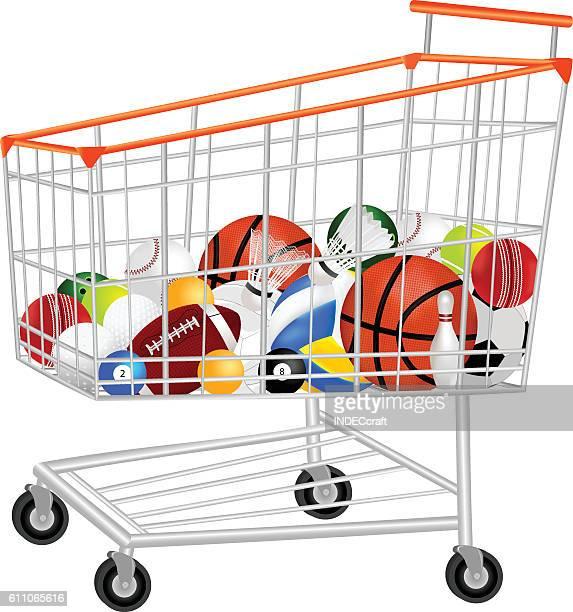 Sport Balls  In Shopping Trolley