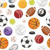 Sport balls seamless pattern vector.