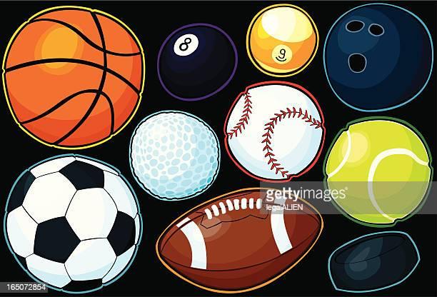 sport balls - number 9 stock illustrations