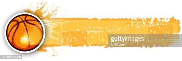 sport banner - shooting baskets stock illustrations