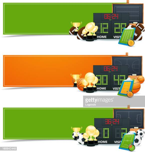 sport banners - football scoreboard stock illustrations