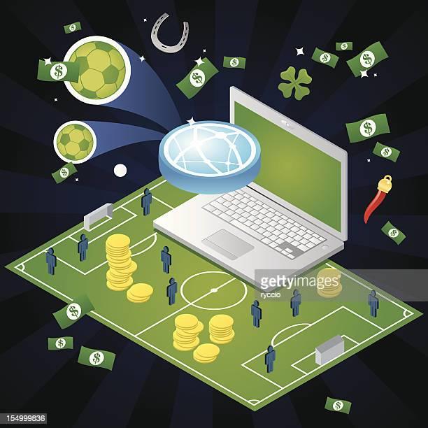Sport betting in a isometric soccer field