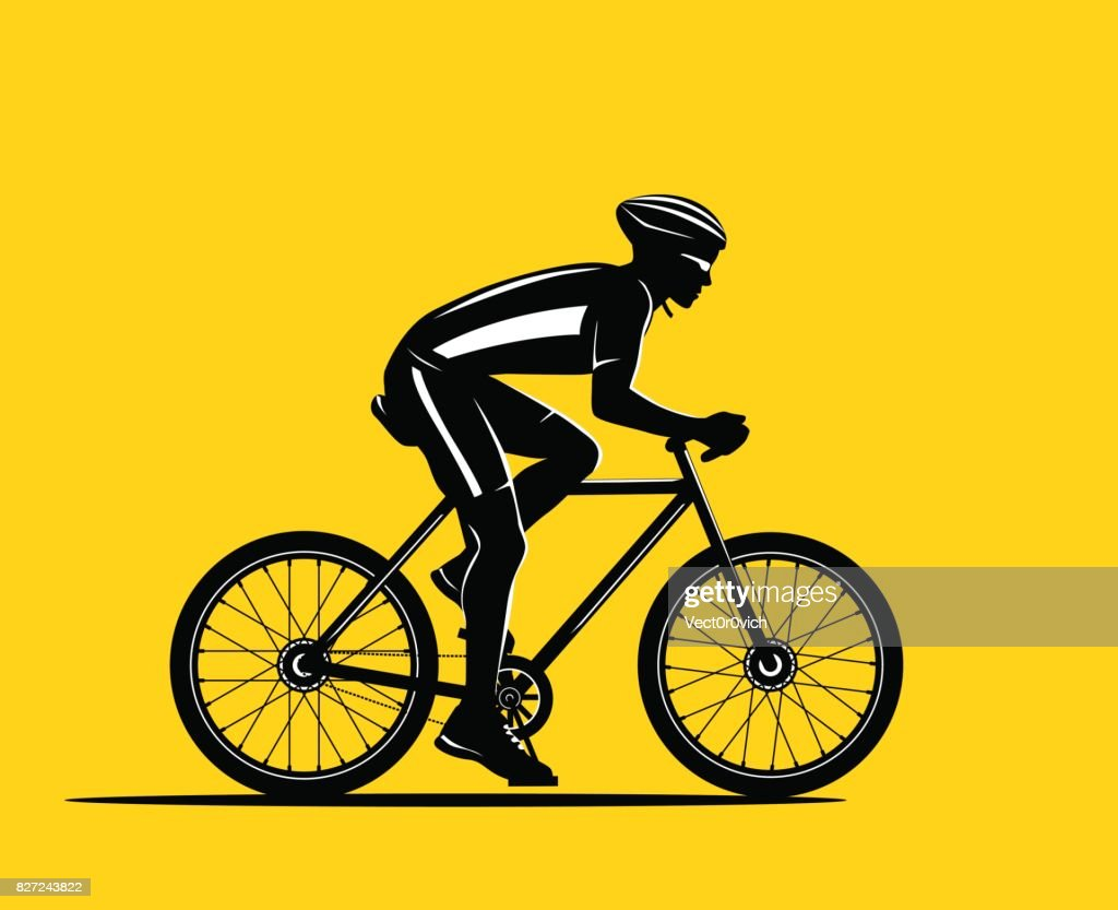 Sport Biker Silhouette on yellow background. Cycling man