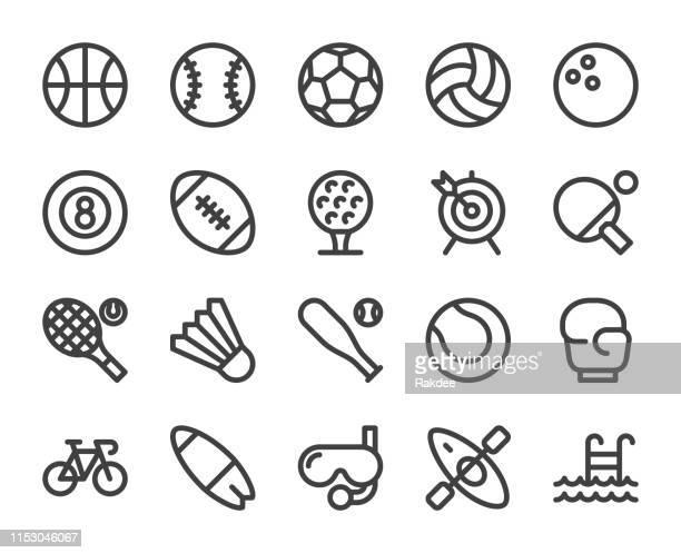 sport - bold line icons - scuba mask stock illustrations
