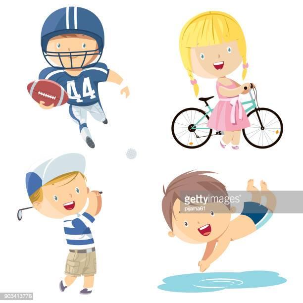 ilustrações, clipart, desenhos animados e ícones de jogo de esporte das crianças - esporte