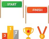 Sport competition flat icon set with Start Finish