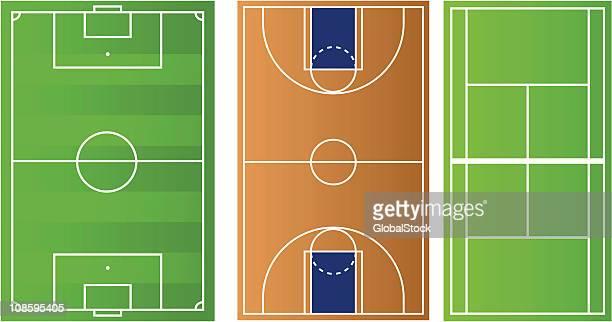 ilustraciones, imágenes clip art, dibujos animados e iconos de stock de canchas de deportes - cancha de baloncesto