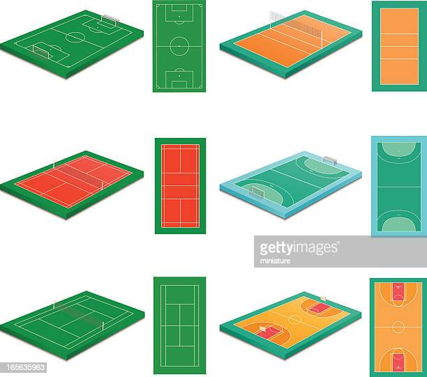 sport courts - tennis stock illustrations