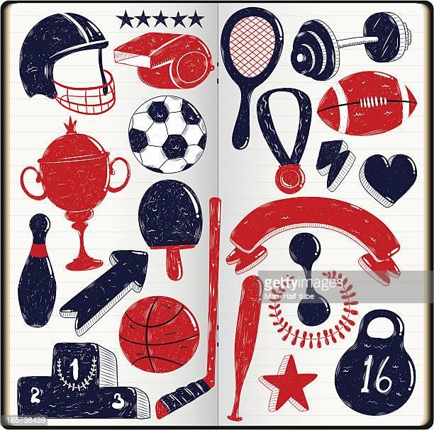 sport doodles - whistle blackboard stock illustrations