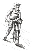 Sport drawing with man on bike