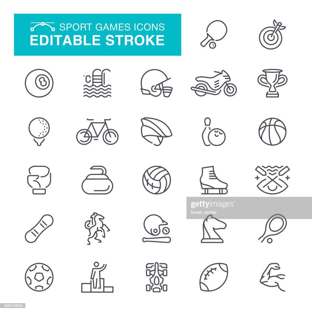 Sport Editable Stroke Icons