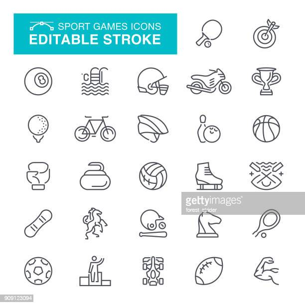 sport editable stroke icons - tennis stock illustrations
