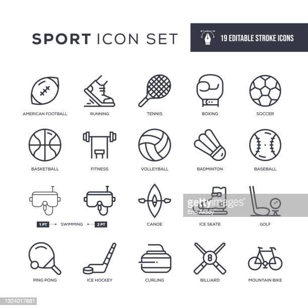 sport editable stroke line icons - table tennis racket stock illustrations