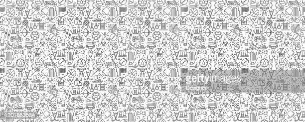 sport elements seamless pattern and background with line icons - athleticism stock illustrations