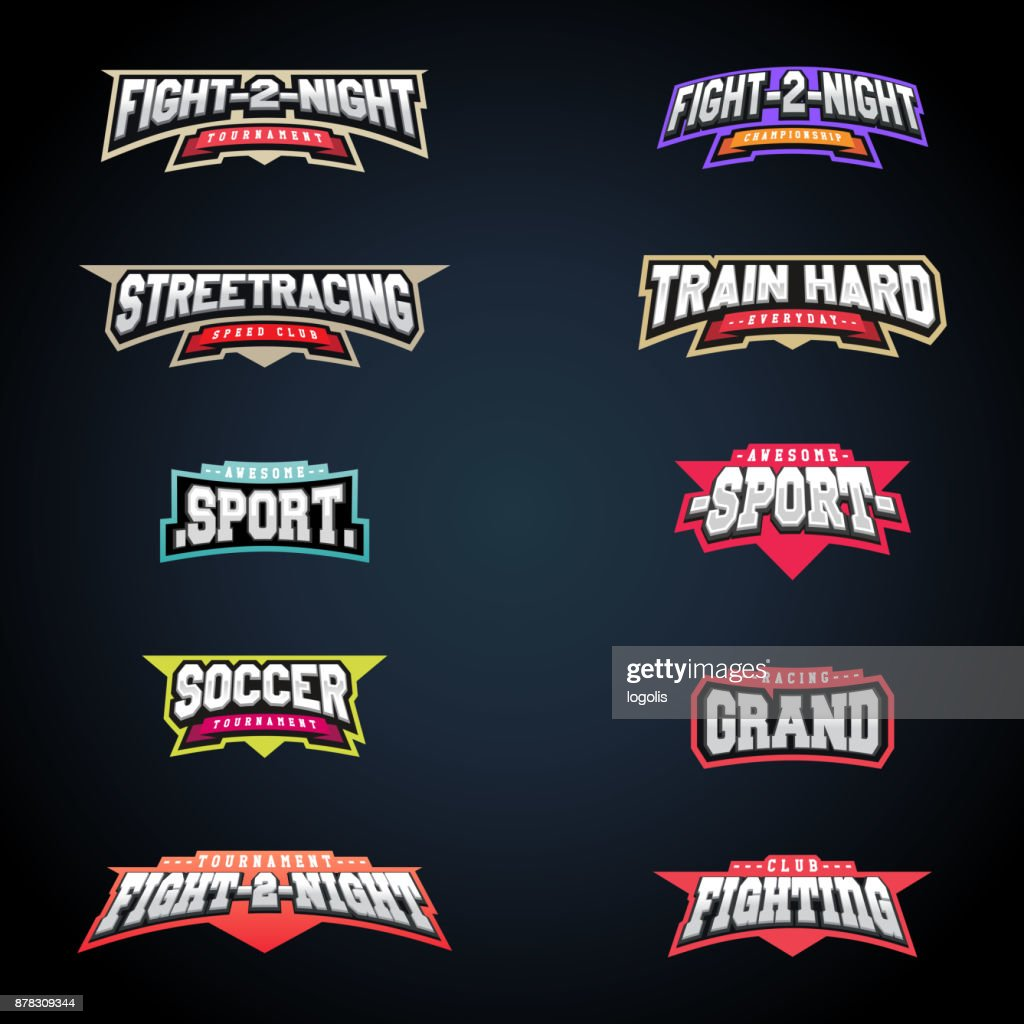 Sport emblem typography set. Super icon for your t-shirt. Mega icontype collection