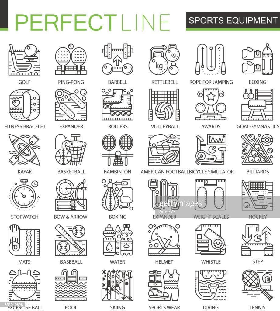 Sport equipment outline mini concept symbols modern stroke linear sport equipment outline mini concept symbols modern stroke linear style illustrations set perfect thin biocorpaavc