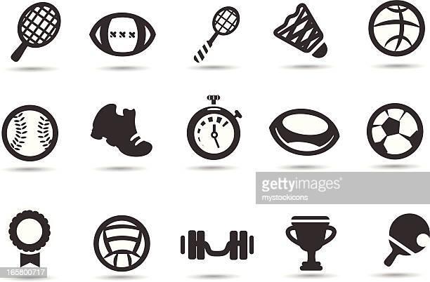 sport equipment symbols - badminton racket stock illustrations, clip art, cartoons, & icons