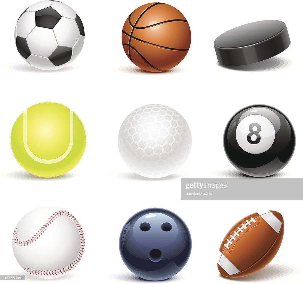 sport equipment vector icon set