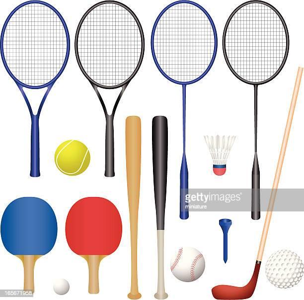 sport equipment - badminton racket stock illustrations
