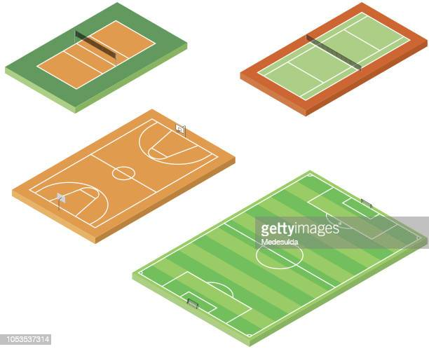 sport field basketball volleyball tennis isometric vector - recreational pursuit stock illustrations, clip art, cartoons, & icons