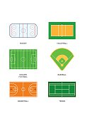 Sport fields: hockey, volleyball, soccer, football, baseball, basketball and tennis.