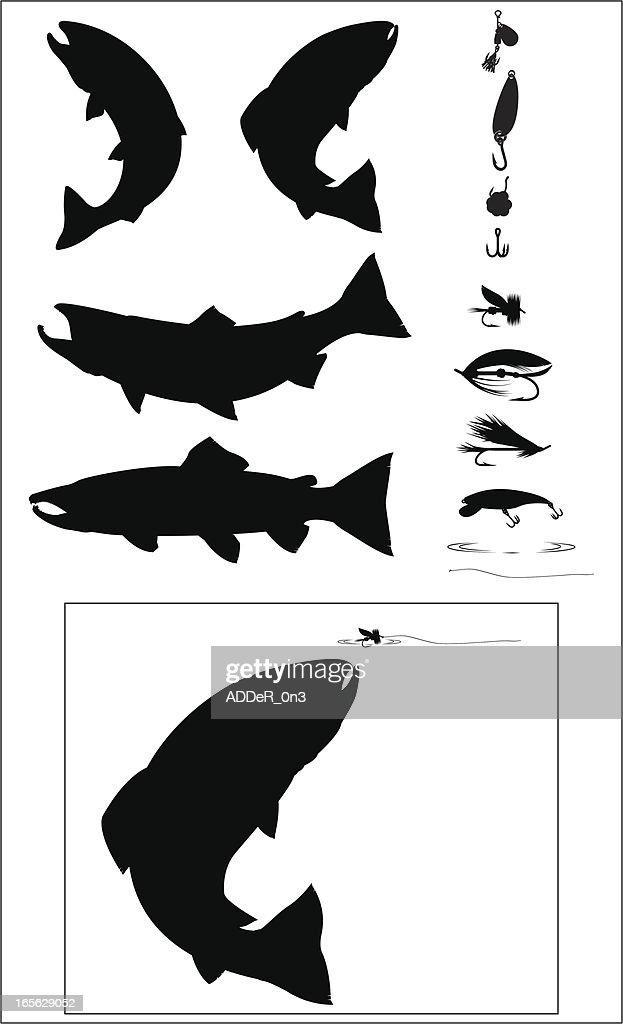 Sport Fishing Silhouette set
