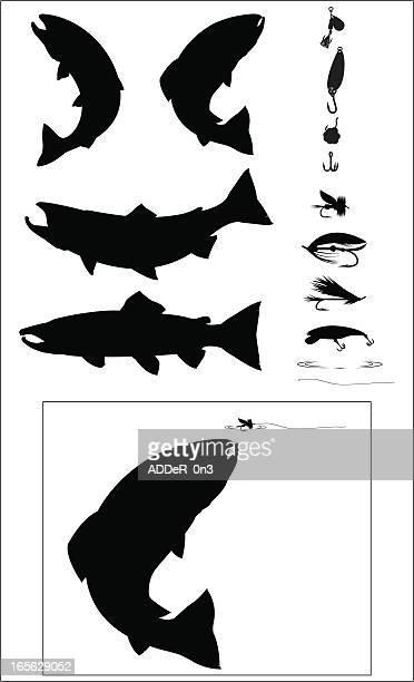 illustrations, cliparts, dessins animés et icônes de ensemble de la silhouette de la pêche sportive - saumon